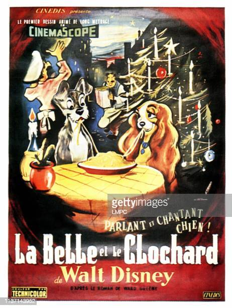 Lady And The Tramp, poster, , from left: Tramp, Lady on French poster art, 1955.