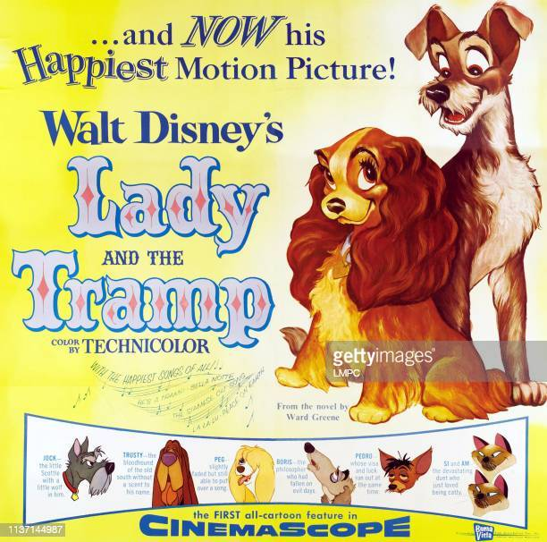 Lady And The Tramp, poster, top from left: Lady, Tramp, bottom from left: Jock, Trusty, Peg, Boris, Pedro, Si, Am, 1955.