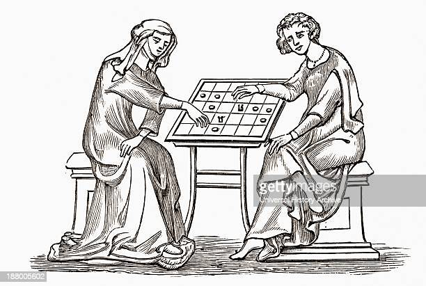 Lady And Youth Playing Draughts Or Checkers In The Early Fourteenth Century From The Book Short History Of The English People By JR Green Published...