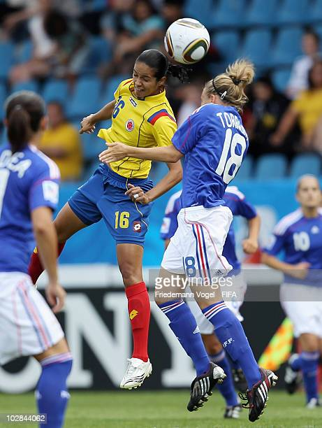 Lady Andrade of Colombia and Marion Torrent of France jump for a header during the FIFA U20 Women's World Cup Group A match between Colombia and...