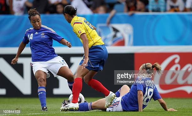 Lady Andrade of Colombia battles for the ball with Marion Torrent of France during the FIFA U20 Women's World Cup Group A match between Colombia and...