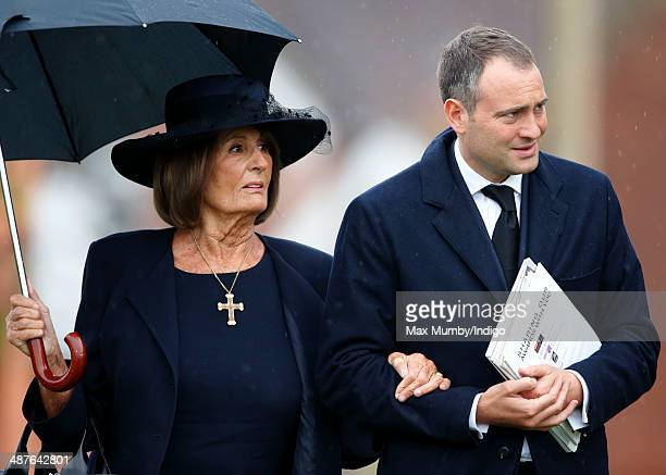 Lady Annabel Goldsmith and Ben Goldsmith attend the funeral of Mark Shand at Holy Trinity Church Stourpaine on May 1 2014 near Blandford Forum in...