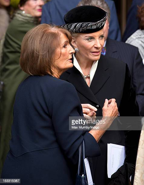 Lady Annabel Goldsmith and Princess Michael of Kent attend a memorial service for Lady Annabel's brother Alistair VaneTempestStewart 9th Marquess of...