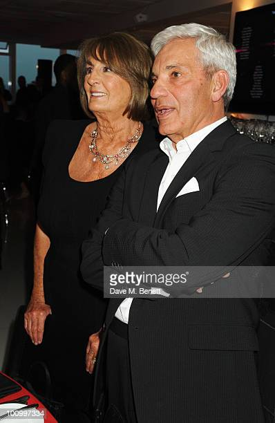 Lady Annabel Goldsmith and Simon Reuben attend The Reuben Foundation Virgin Unite Haiti Fundraiser at Altitude 360 on May 26 2010 in London England