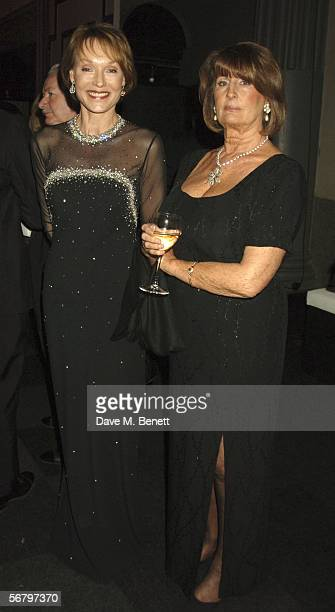 Lady Annabel Goldsmith and Victoria Getty attend the Conservative Party Black White Ball at Old Billingsgate Market on February 8 2006 in London...