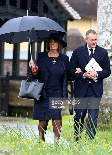 Lady Annabel Goldsmith arrives at Holy Trinity Church for the funeral of Mark Shand in Stourpaine on May 1 2014 near Blandford Forum in Dorset...
