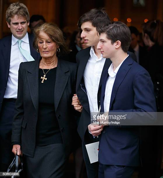 Lady Annabel Goldsmith attends a memorial service for Miles Frost at Arundel Cathedral on February 5 2016 in Arundel England Miles Frost son of the...