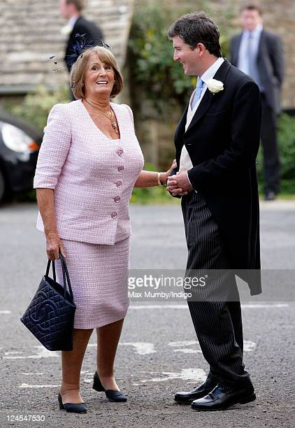 Lady Annabel Goldsmith attends the wedding of Ben Elliot and MaryClare Winwood at the church of St Peter and St Paul Northleach on September 10 2011...