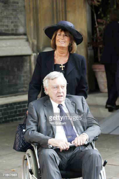 Lady Annabel Goldsmith helps her exhusband Mark Birley out of St Paul's Church in Knightsbridge after a memorial service for Major Bruce Shand on...