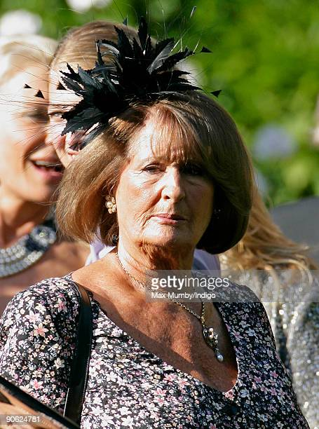 Lady Annabel Goldsmith leaves her home to attend the wedding of Lord Frederick Windsor to Sophie Winkleman at Hampton Court Palace on September 12...