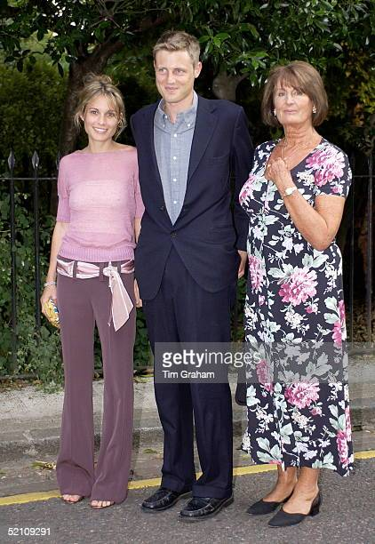 Lady Annabel Goldsmith With Her Son Zac Goldsmith And His Wife Sheherazade At Society Party Hosted By Television Presenter David Frost At Carlyle...