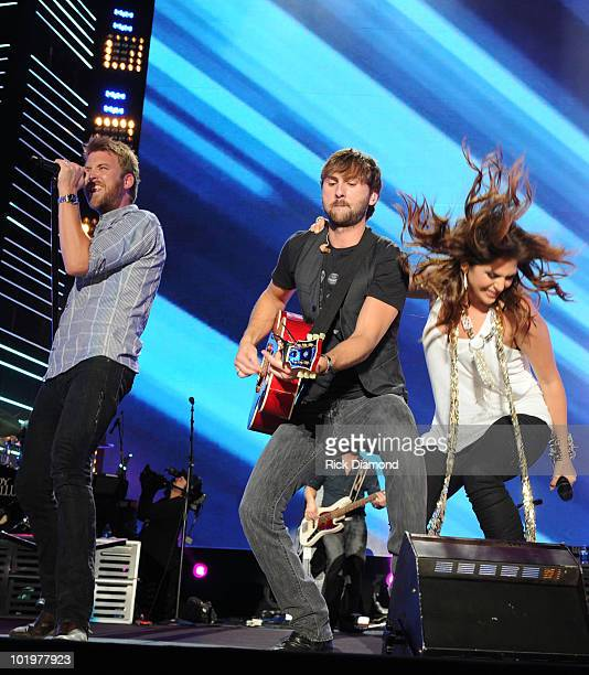 Lady Antebellum Charles Kelley Dave Haywood and Hillary Scott perform during CMA Music Festival Day 1 at LP Field on June 10 2010 in Nashville...