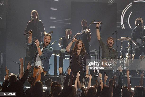 Lady Antebellum performs onstage during the 47th annual CMA Awards at the Bridgestone Arena on November 6 2013 in Nashville Tennessee