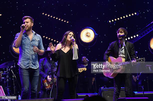 Lady Antebellum's Charles Kelley Hillary Scott and Dave Haywood perform at The Life Songs of Kris Kristofferson produced by Blackbird Presents at...