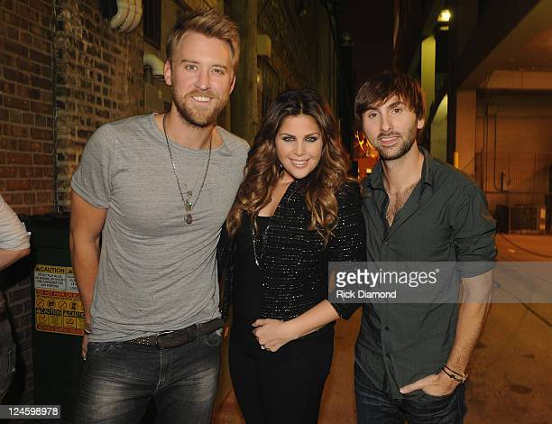 Lady Antebellum's Charles Kelley Hillary Scott and Dave Haywood backstage before performing songs from there upcoming release Own The Night along...