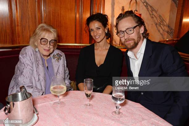 Lady Antonia Fraser Indira Varma and Tom Hiddleston attend an after party for Happy Birthday Harold a charity gala celebrating the life and work of...