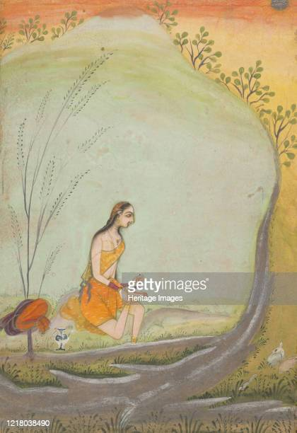 Lady Applying Henna to Her Foot, circa 1720-30. Ustad Mohamed,. Artist Ustad Mohamed.