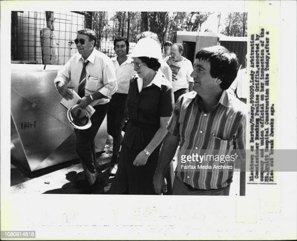 Lady Arbitration Commissioner Pauline Griffin, escorted by company and union official on her inspection of the Mt. Druitt Hospital Construction Site...