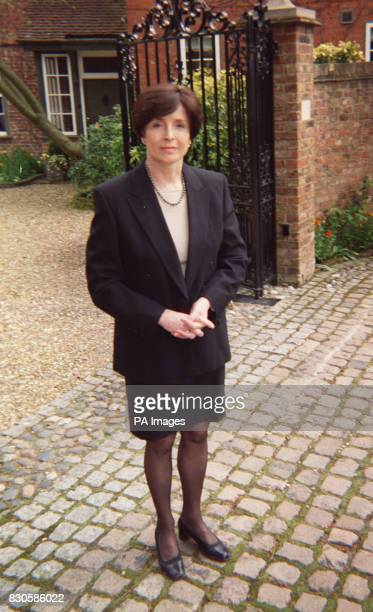 Lady Archer stands outside the family home near Cambridge after hearing the news that Monica Coghlan the former prostitute at the centre of the Lord...