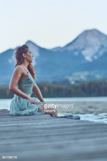 lady at the lake - lake auburn stock photos and pictures