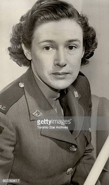 Lady Banting in her CWAC uniform received her diploma of Doctor of Medicine at the University of Toronto yesterday Widow of the late Sir Frederick...