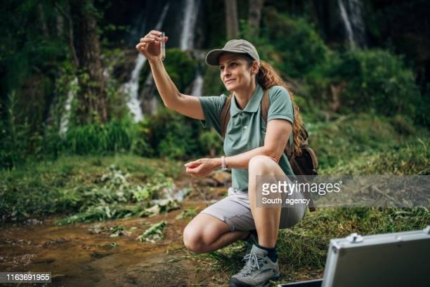 lady biologa che prende un campione d'acqua in natura - biologo foto e immagini stock