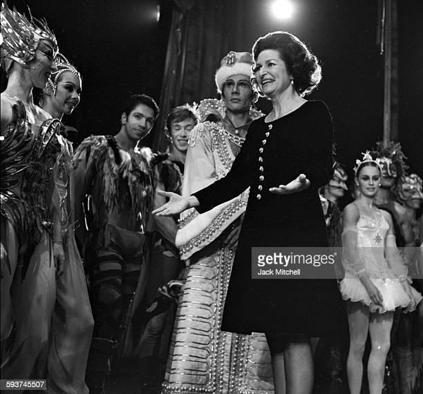 Lady Bird Johnson congratulating Harkness Ballet dancers after a performance on November 10 1967