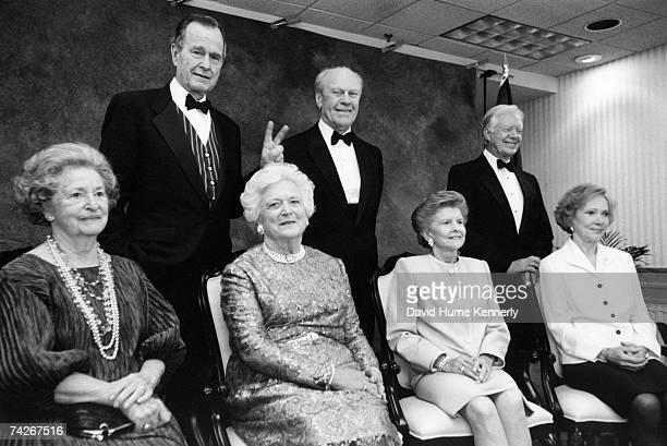 Lady Bird Johnson President George HW Bush Barbara Bush President Gerald R Ford Betty Ford President Jimmy Carter and Rosalyn Carter pose for a...