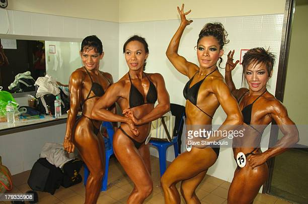 Lady bodybuilders taking part in a competition in Bangkok Thailand