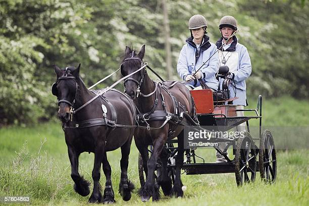 Lady Brabourne driving a carriage and team of fell ponies at the Royal Windsor Horse Show Windsor Great Park in the grounds of Windsor Castle on May...