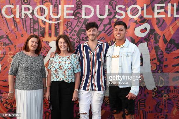 Lady Bronagh Key son Max Key with Sam Bennett and Fiona Nugent attend the opening night of Cirque du Soleil KOOZA on February 15 2019 in Auckland New...