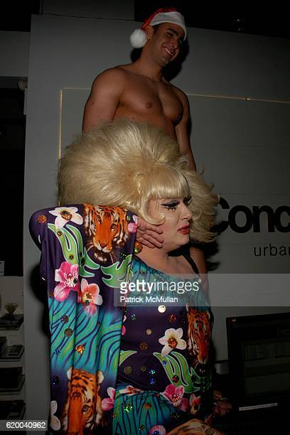 Lady Bunny and Dancer attend KolDesign and BoConcept's annual Holiday party at BoConcept on December 16 2008 in New York City
