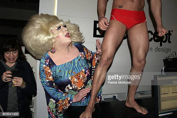 Lady Bunny and Dancer attend KolDesign and BoConcept's annual Holiday party at BoConcept Store on December 16 2008 in New York City