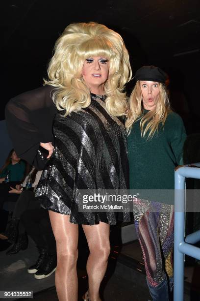 Lady Bunny and Theodora Richards attend The Cinema Society Bluemercury host the premiere of IFC Films' 'Freak Show' at Landmark Sunshine Cinema on...