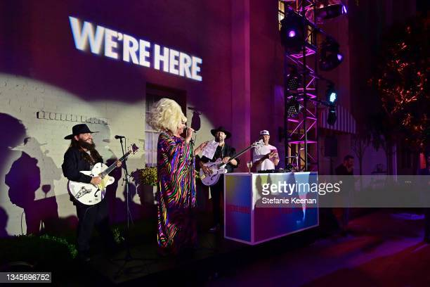 """Lady Bunny speaks during the """"We're Here"""" Season 2 Premiere at Sony Pictures Studios on October 08, 2021 in Culver City, California."""