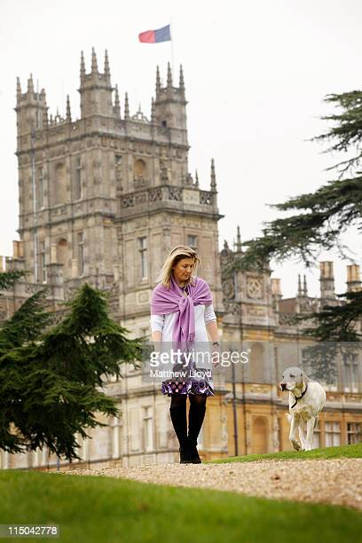 Lady Carnarvon walks the dogs in the grounds of Highclere Castle on March 15, 2011 in Newbury, England. Highclere Castle has been the ancestral home...