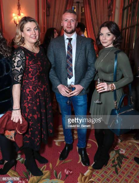 Lady Carnavron Liam Macaulay and Candice Brown attend the launch of new book 'At Home At Highclere Entertaining At The Real Downton Abbey' By The...
