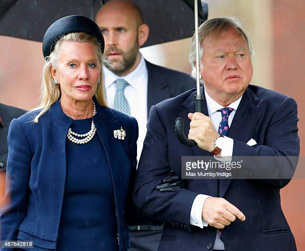 Lady Carole Bamford and Sir Anthony Bamford attend the funeral of Mark Shand at Holy Trinity Church Stourpaine on May 1 2014 near Blandford Forum in...