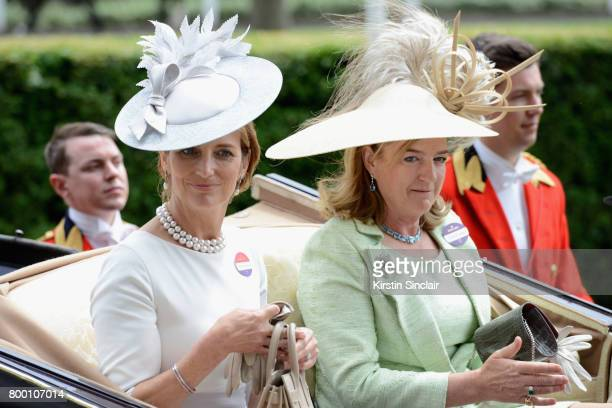 Lady Carolyn Warren and The Hon Mrs Stanley arrive in the Royal Procession on day 4 of Royal Ascot 2017 at Ascot Racecourse on June 23 2017 in Ascot...