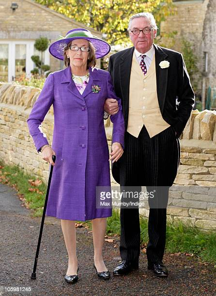 Lady Celia Vestey and Lord Samuel Vestey attend Harry Meade & Rosie Bradford's wedding at the Church of St. Peter and St. Paul on October 23, 2010 in...