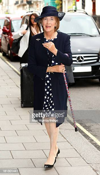 Lady Celia Vestey arrives at Claridges Hotel to attend the wedding reception for Alexander Fellowes and Alexandra Finlay following their wedding...