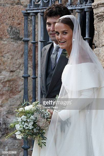 Lady Charlotte Wellesley and Alejandro Santo Domingo are seen outside of the church after marrying at Illora on May 28, 2016 in Granada, Spain.