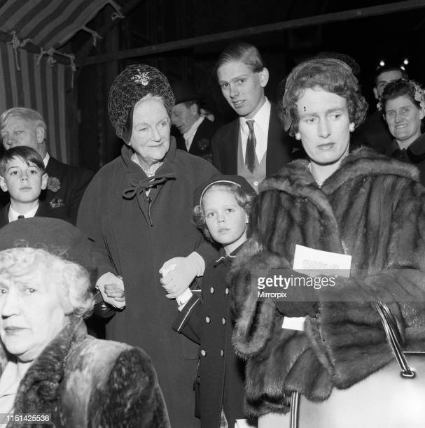 Lady Churchill and Emma Soames at the wedding of Richard Rhys and Lucy Rothenstein 1959