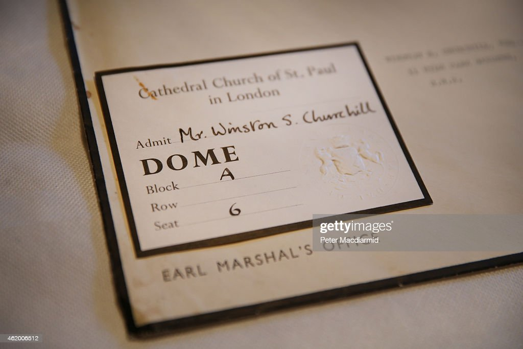 Lady Churchill's invitation to her husband Winston Churchill's state funeral is displayed at Chartwell on January 23, 2015 in Westerham, England. The 'Death of a Hero' exhibition is opening at Chartwell, home of Britain's wartime leader Winston Churchill, to commemorate the 50th anniversary of his death and state funeral in 1965.