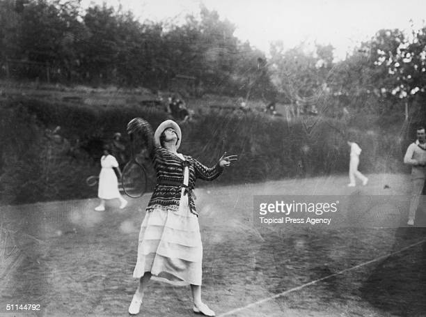 Lady Clementine Churchill wife of Sir Winston enjoys a game of tennis during a visit to Nice January 1923