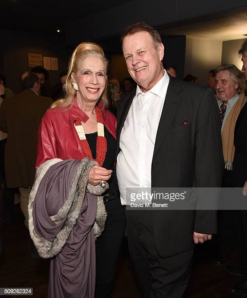 Lady Colin Campbell and Martin Zippo Burton attend the Press Night performance of Cirque Berserk at The Peacock Theatre on February 9 2016 in London...