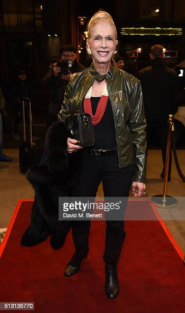 "Lady Colin Campbell arrives for Gala Performance of ""The Maids"" at the Trafalgar Studios on February 29, 2016 in London, England."