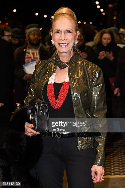 Lady Colin Campbell arrives for the Gala performance of 'The Maids' at Trafalgar Studios on February 29, 2016 in London, England.