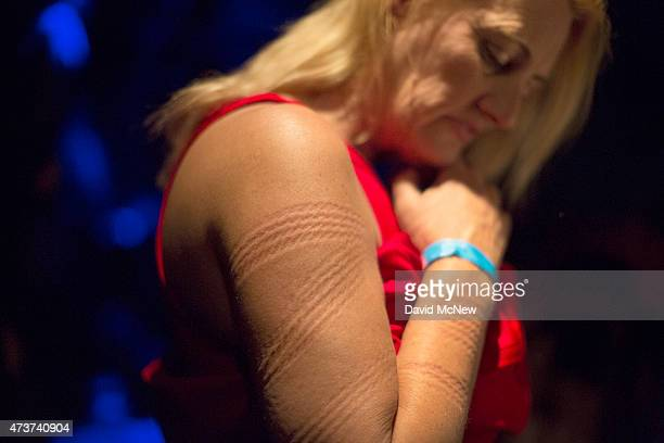 Lady Dalbin bears rope marks after being tied up and suspended for her enjoyment at a dungeon party during the domination convention DomCon LA on May...