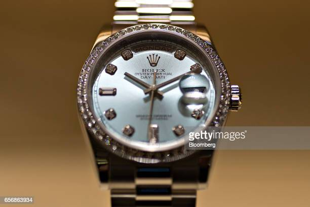 A Lady Datejust model luxury ladies wristwatch produced by Rolex SA stands on display during the 2017 Baselworld luxury watch and jewelry fair in...